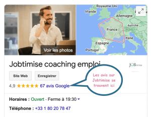Jobtimise sur Google, avis clients